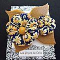 ♥ molly ♥ broche textile bohème fleurs potirons feuilles bleu marine marron café- les yoyos de calie