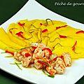 Carpaccio de mangue aux crevettes, au citron vert et piment d'après guy martin