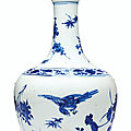 A blue and white garlic-mouth vase, Transitional period, mid-17th century