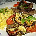 Gratin de légumes ail, thym, basilic,façon tian avec mozzarella, parmesan et gruyère