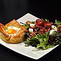 Croustillants au bacon et salade aux croûtons maison