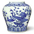 A blue and white 'peacock' jar, Jiajing mark and period (1522-1566)