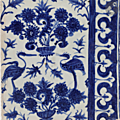 Three white and blue fritware tiles, Egypt or Syria, late 15th - early <b>16th</b> <b>century</b>