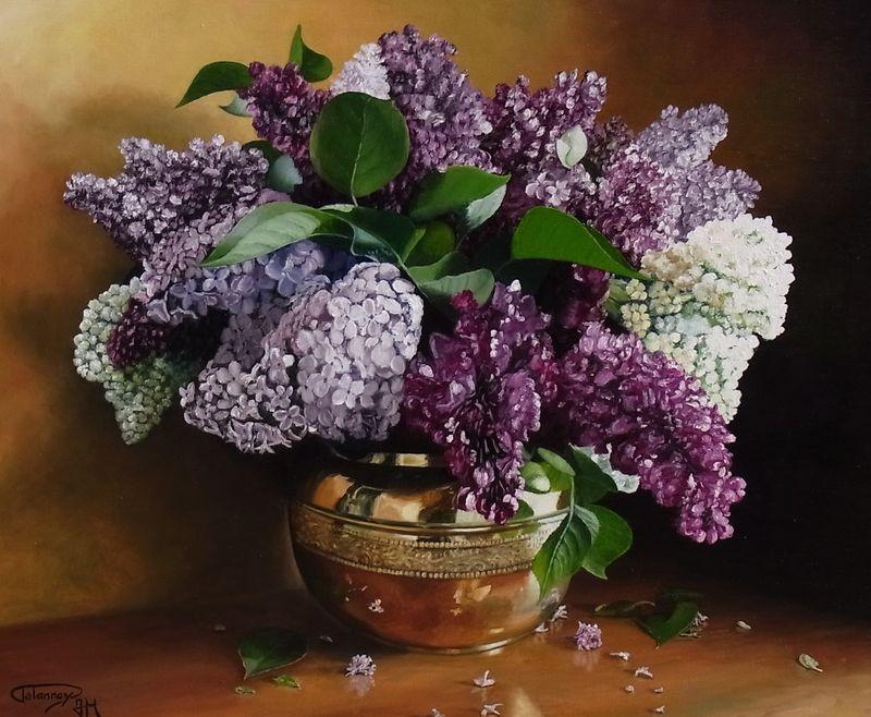 Lilas dans pot en cuivre photo de fleurs et nature morte couleurs de toiles - Initiatives fleurs et nature ...