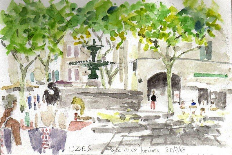 Uzès, la fontaine de la place aux herbes