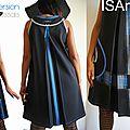 Robe Trapèze Graphique noire/ bleu écossais