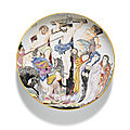 A Chinese Export <b>Dutch</b> <b>decorated</b> Crucifixion saucer dish, Qing dynasty, circa 1735