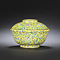 An <b>Imperial</b> <b>yellow</b>-enamel on copper bowl and cover, Qianlong period (1736-1795)