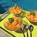 Billes de melon au sirop de verveine