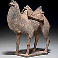 A painted <b>grey</b> <b>pottery</b> figure of a painted <b>grey</b> <b>pottery</b> figure, Bactrian camel, Northern Wei Dynasty (386-534)