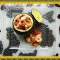 Courgette ronde farcie au panga, poivron et piment thaï