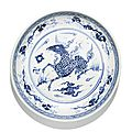 A blue and white 'qilin' dish, ming dynasty, 16th century