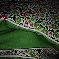 Plaid julie en liberty fariford rose et vert, dos coton vert et passepoil rose