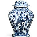 A large facetted blue and white <b>baluster</b> <b>jar</b> and cover, Qing dynasty, Kangxi period (1662-1722)