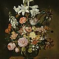 Jacob Marrel, Still life of <b>flowers</b> <b>in</b> <b>a</b> <b>vase</b> set on <b>a</b> stone plinth with <b>a</b> lizard and grasshopper
