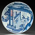 A large underglaze-blue and copper-red-decorated dish, Early Kangxi period, circa 1670