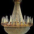 Exceptionnel lustre corbeille en bronze ciselé doré présentant quarante huit lumières, époque empire
