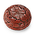 A cinnabar lacquer box and cover, ming dynasty, 15th century