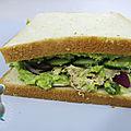 Sandwich avocat, thon et concombre