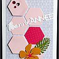 Un lift ... des hexagones ... un hibiscus ... une carte de voeux féminine, graphique et exotique !