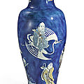 A powder-blue-ground 'immortals' vase, qing dynasty, kangxi period (1662-1722)