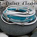 Je vous propose du ciel bleu dans ce <b>bracelet</b> multimatières turquoise et blanc ! Reviens soleil, reviens !!!!!