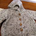 Tricoter un manteau bébé laine chinée