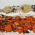 Bar en marinade créole à la plancha et chips de patate douce à l'actifry®