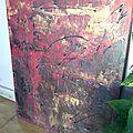 Tableau acrylique abstrait rouge cross my heart
