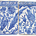 Two blue and white <b>pottery</b> tiles Ottoman Turkey or provinces, late 16th century