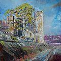 Château de budos,hst peinture au couteau 10f