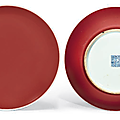 Two <b>copper</b> <b>red</b>-<b>glazed</b> dishes, Qianlong six-character seal marks in underglaze blue and of the period (1736-1795)