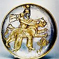 Sassanian Silver Gilt Plate Depicting a King Wrestling a <b>Leopard</b>, 5th-6th century C.E.