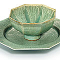 A <b>Longquan</b> <b>celadon</b> <b>Guan</b>-<b>type</b> <b>cup</b> <b>and</b> <b>dish</b>, Song dynasty (960-1279)