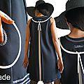MOD 385B Robe Trapèze Graphique Noir blanc Chic créateur made in France