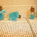 Parure verre et micro billes bleu turquoise