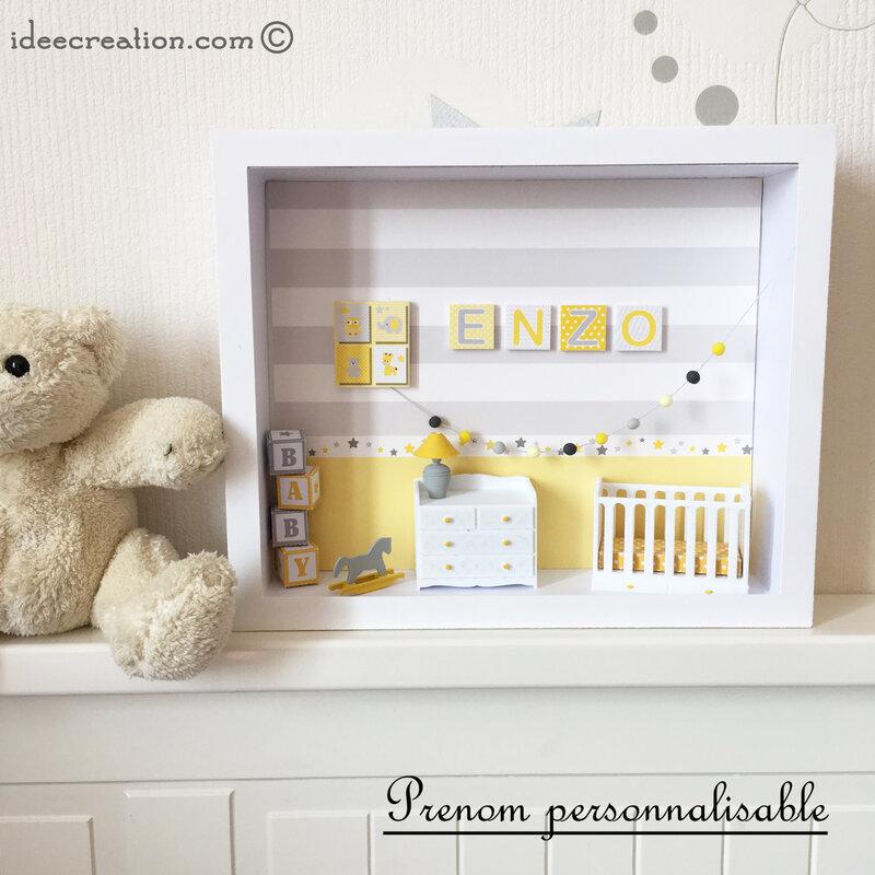 cadre prenom bebe chambre miniature jaune 2