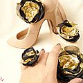 parure bijou femme mariage bijou de chaussure bague broche barrette fleur noire or cereza deco 3