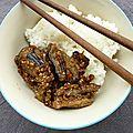 Aubergines caramélisées au sésame...où comment je poursuis une quête de l'aubergine et de l'asie