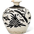 A Cizhou black-painted 'Bird and Flower' tulu vase, Song dynasty (960-1279)