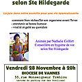 <b>PALESTRA</b> PRINCÍPIOS DE VIDA SÃ SEGUNDO SANTA HILDEGARDA com Nathalie Colfort, em Vannes, França - 28 de novembro