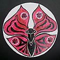 Papillon du Japon LaProf Peinture gouache noir blanc rouge
