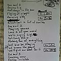 Lyrics (manuscript) and chords of the proXima song ZOE AND I
