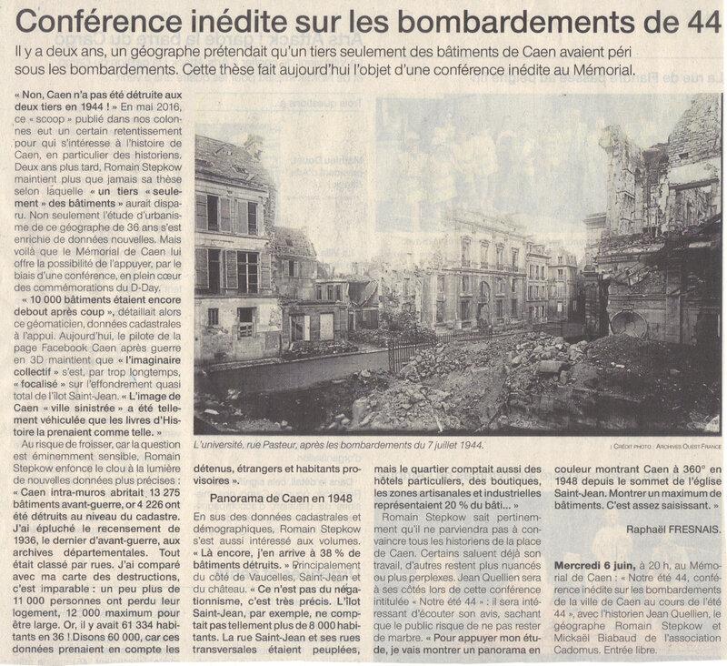 CAEN JUIN 1944: de nouvelles certitudes historiques sur l'ampleur du martyre