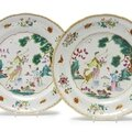A pair of chinese export porcelain famille-rose 'xiwangmu' dishes, qianlong period, circa 1765