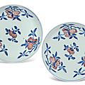 A pair of Ming-style blue and white and copper-red 'peach' dishes,Qianlong six-character seals mark in underglaze blue and of the period (1736-1795)