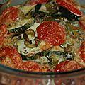 Gratin de tomates, poivrons et courgettes au basilic, origan, persil et aneth