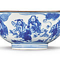 A blue and white 'immortals' bowl, qing dynasty, kangxi period (1662-1722)