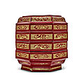An early red and engraved gilt (qiangjin) <b>lacquer</b> three-tier octagonal box and cover, Song-Yuan Dynasty