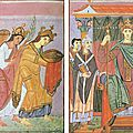 Evangéliaire Otton III fin Xe s - double page hommage des provinces à Otton III - Bibl de Munich - Clm 4453 folios 24v-25r - wikipedia